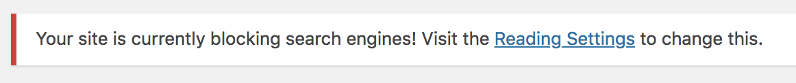 Your site is currently blocking search engines! Visit the Reading Settings to change this.